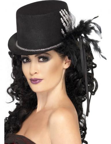 Schwarzer Halloween-Zylinder mit Skeletthand und Federn für Damen