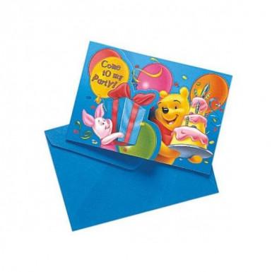 6 Einladungskarten mit Umschlag Winnie Puuh™