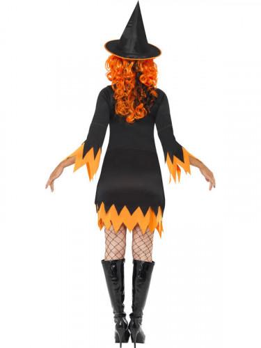 Orange-schwarzes Halloween Hexen-Kostüm für Damen-2