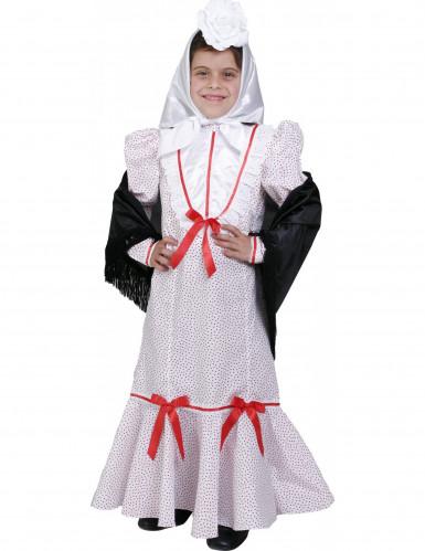 Weißes Madrileninnen-Kostüm für Mädchen