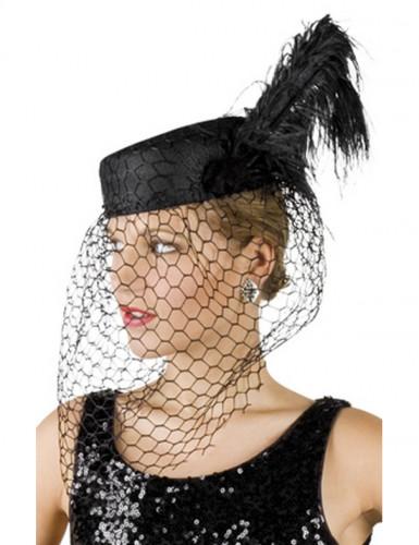 Schwarzer Witwen-Hut für Damen