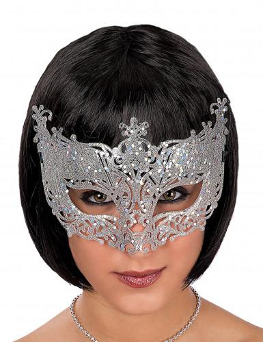 Venezianische Augenmaske mit silberner Spitze für Erwachsene