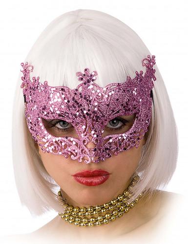 Rosa glitzernde venezianische Augenmaske für Erwachsene