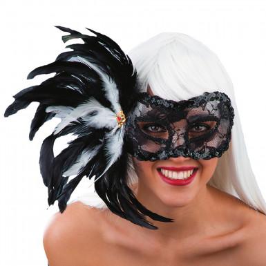 Schwarze Augenmaske mit Spitze und Federn für Erwachsene
