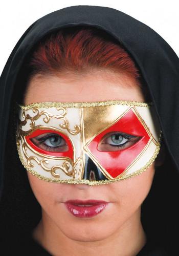 Rote venezianische Augenmaske mit geometrischen Formen für Erwachsene