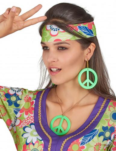 Grüne Hippie-Ohrringe und Anhänger-1