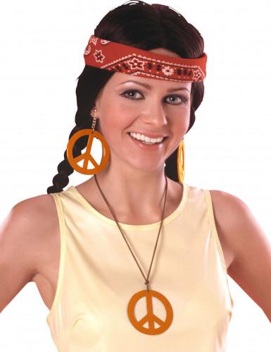 Orangefarbene Hippie-Ohrringe und Anhänger