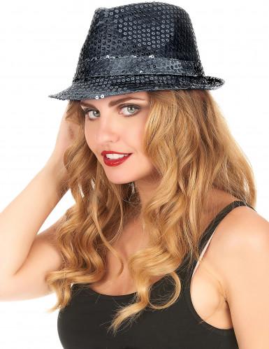 Schwarzer Glitzer-Hut für Erwachsene-2