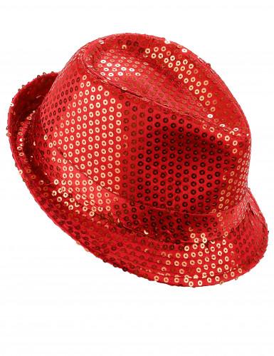 Roter Pailletten-Hut für Erwachsene
