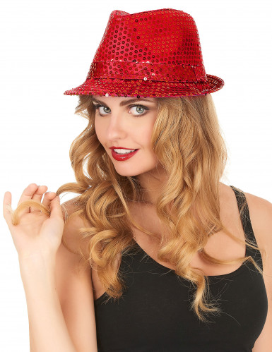 Roter Pailletten-Hut für Erwachsene-2