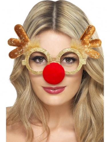 Rentier Brille für Erwachsene braun-goldfarben-rot