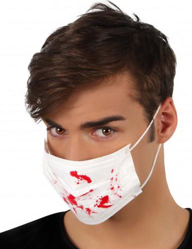 Weißer Mundschutz mit Blutflecken