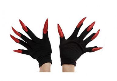 Schwarze Handschuhe mit langen, roten Nägeln für Erwachsene