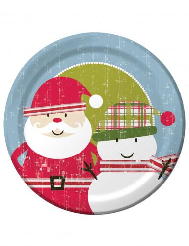 8 Teller - Retro Weihnachtsmann Einheitsgröße