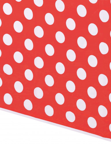 Rotes Tischtuch mit weißen Tupfen-1