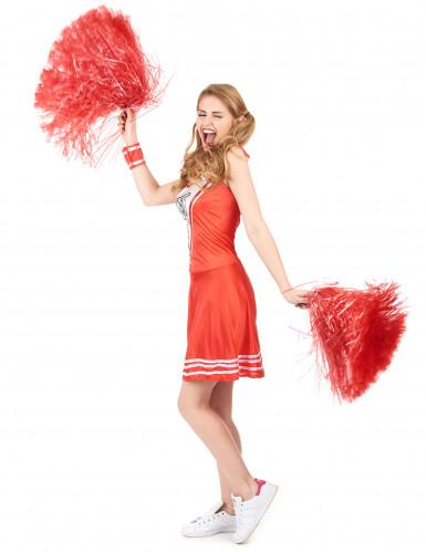 Rotes Pompom-Girl-Kostüm für Damen-1