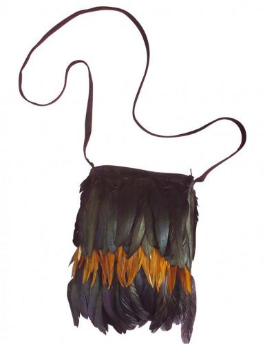 Indianer-Umhängetasche mit Federn
