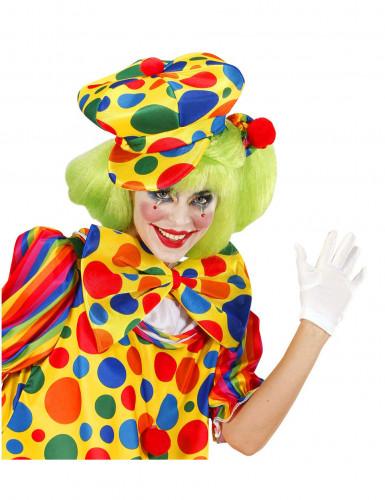 Gepunktete Clown-Baskenmütze für Erwachsene