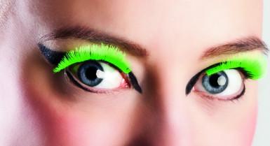 Kurze neongrüne Wimpern für Erwachsene