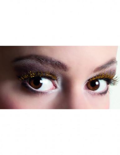 Kurze künstliche Wimpern schwarz mit goldenen Pailletten
