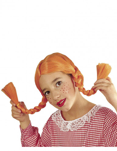Perücke mit orange Zöpfen für Mädchen