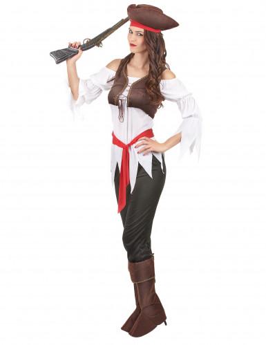Piratin-Damenkostüm für Karneval bunt-1