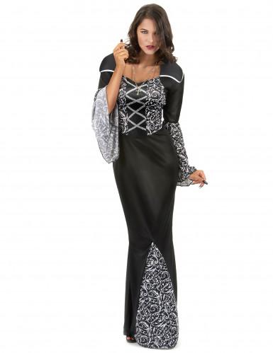 Vampir Kostüm für Damen mit Trompetenärmeln schwarz-weiß