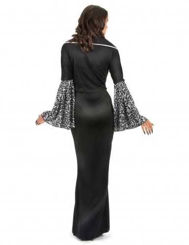 Vampir Kostüm für Damen mit Trompetenärmeln schwarz-weiß-2