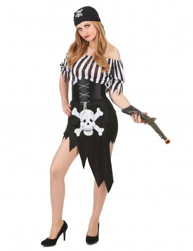 Sexy Piratinnen-Kostüm schwarz-weiss