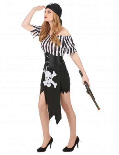 Sexy Piratinnen-Kostüm schwarz-weiss-1