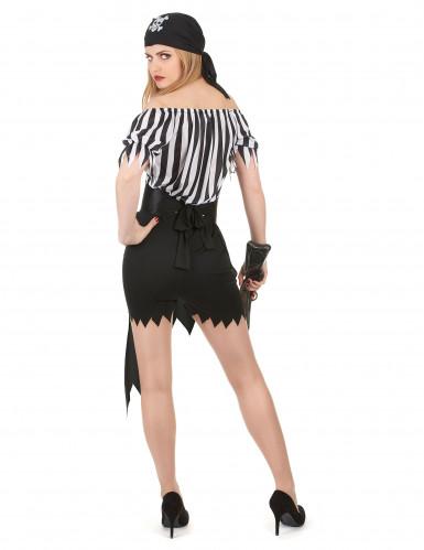 Sexy Piratinnen-Kostüm schwarz-weiss-2