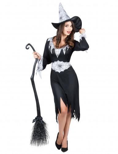 Hexen-Verkleidung schwarz-weiß für Damen