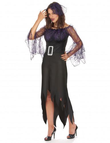 Spinnenkönigin Damenkostüm schwarz-violett-1