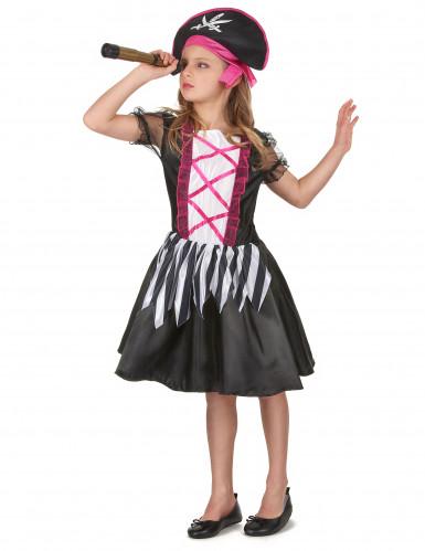 Süßes Piratinnen Mädchenkostüm schwarz-weiß-pink-1