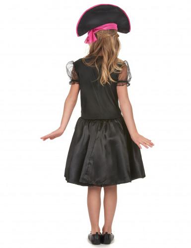 Süßes Piratinnen Mädchenkostüm schwarz-weiß-pink-2