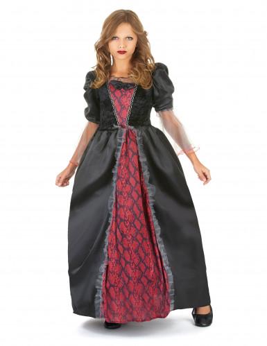 Rot-schwarzes Vampirkostüm für Mädchen