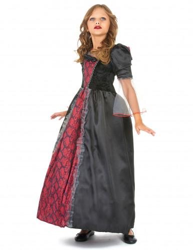Rot-schwarzes Vampirkostüm für Mädchen-1