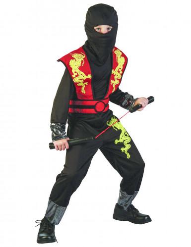 Ninjakostüm für Jungen schwarz-rot-gelb