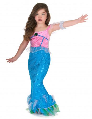 Meerjungfrau Kostüm für Mädchen blau-rosa