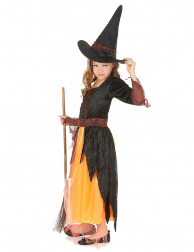 Hexenkostüm für Mädchen schwarz-rot-orange-1