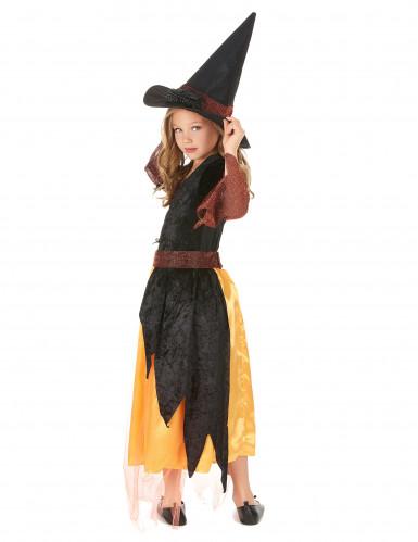 Hexenkostüm für Mädchen schwarz-rot-orange-2