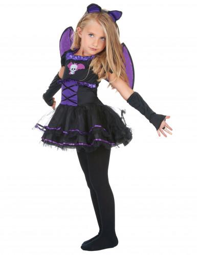 Fledermauskostüm lila für Mädchen Halloween-1