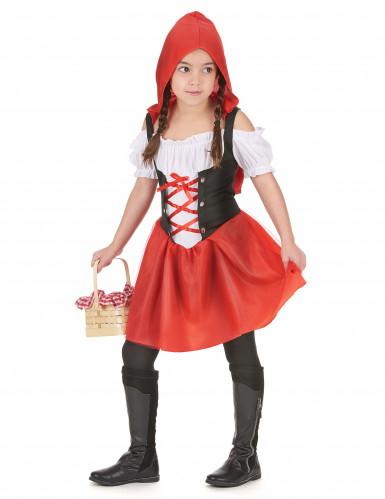 Rotkäppchen Kostüm für Mädchen schwarz-weiss-rot-1