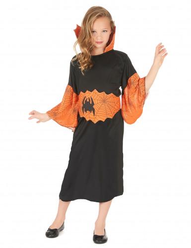 Spinnenkönigin-Kostüm orange für Mädchen