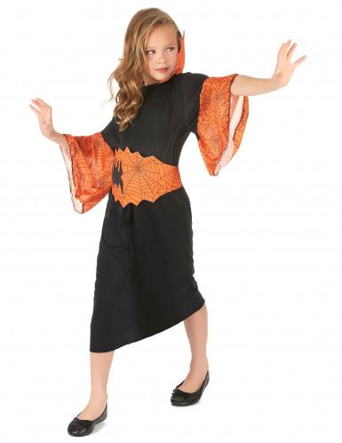 Spinnenkönigin-Kostüm orange für Mädchen-1