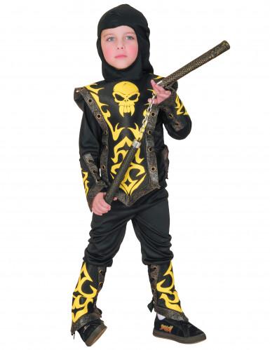 Ninja Kostüm in schwarz-gelb für Jungen