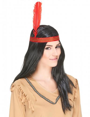 Indianer-Perücke für Erwachsene rot-goldfarben