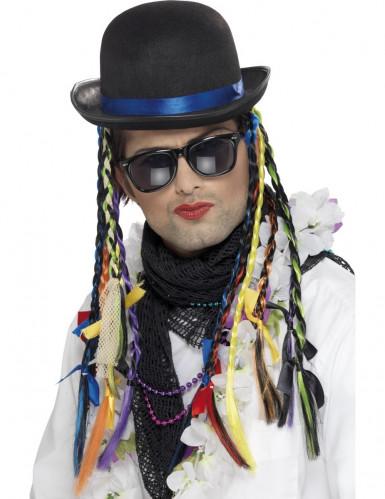 Popstar Mütze mit bunten Zöpfen für Erwachsene