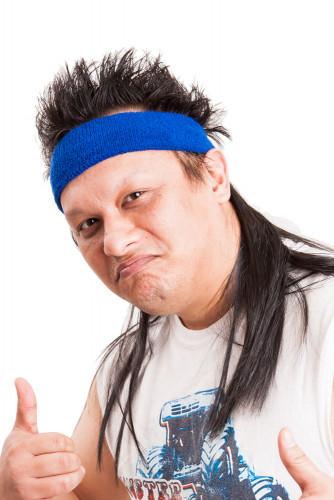 Blaues Mullet On The Go™ Vokuhila-Stirnband