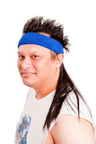 Blaues Mullet On The Go™ Vokuhila-Stirnband-2